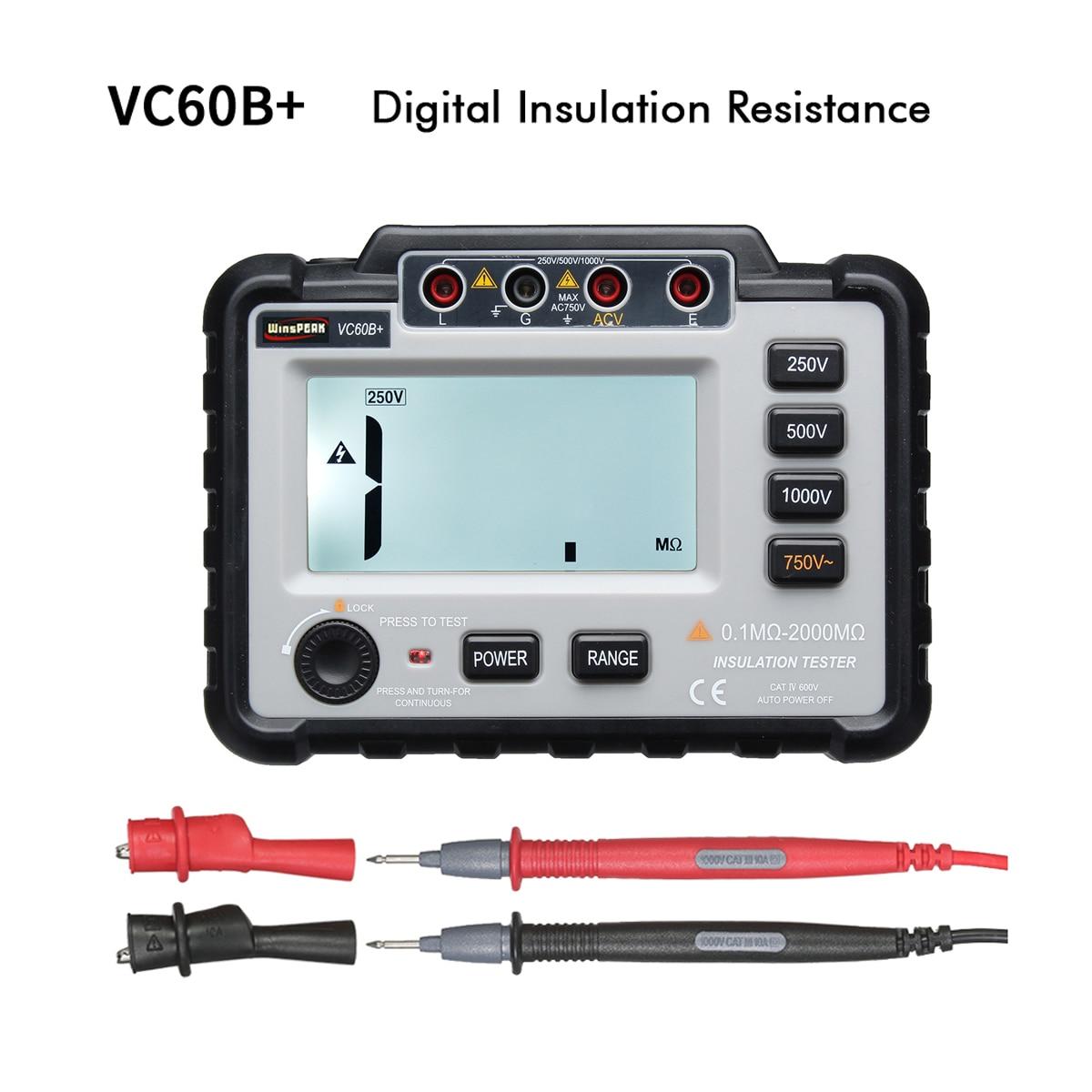 VC60B + Digital Resistência de Isolamento Tester 250/500/1000 V DC Leve Ampla Gama Backlight LCD Megger Megaohm metro