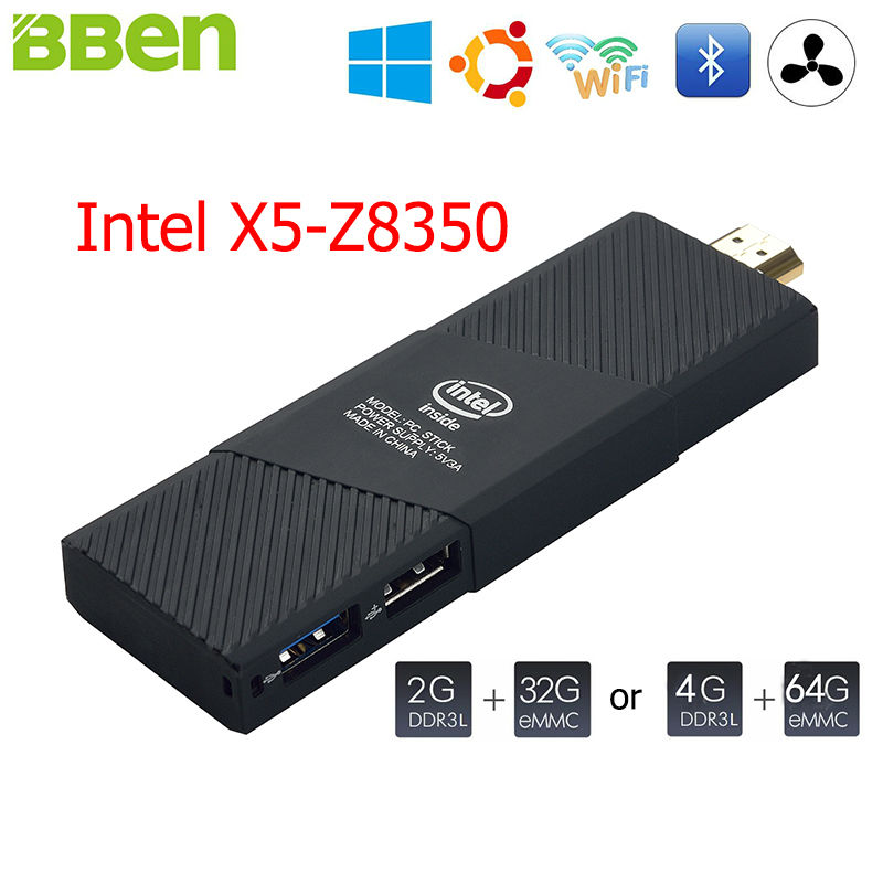 BBen Intel Mini PC Windows 10 Ubuntu Intel Cherry Z8350 Quad Core 2GB 4GB RAM HDMI