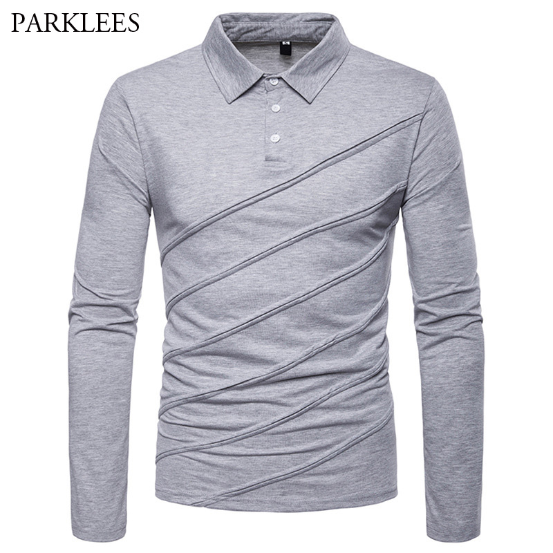 Mens Solid Color Striped   Polo   Shirts 2018 Autumn New Long Sleeve   Polo   Shirt Men Slim Fit Casual Brand   Polos   Para Hombre Camisa