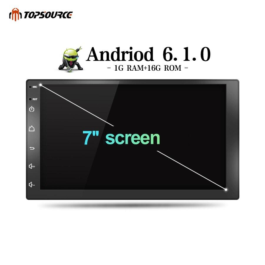 Lecteur multimédia de voiture TOPSOURCE Android 6.0 lecteur Radio DVD de voiture 2 din WiFi pour Nissan TOYOTA Volkswagen universel GPS 1024X600