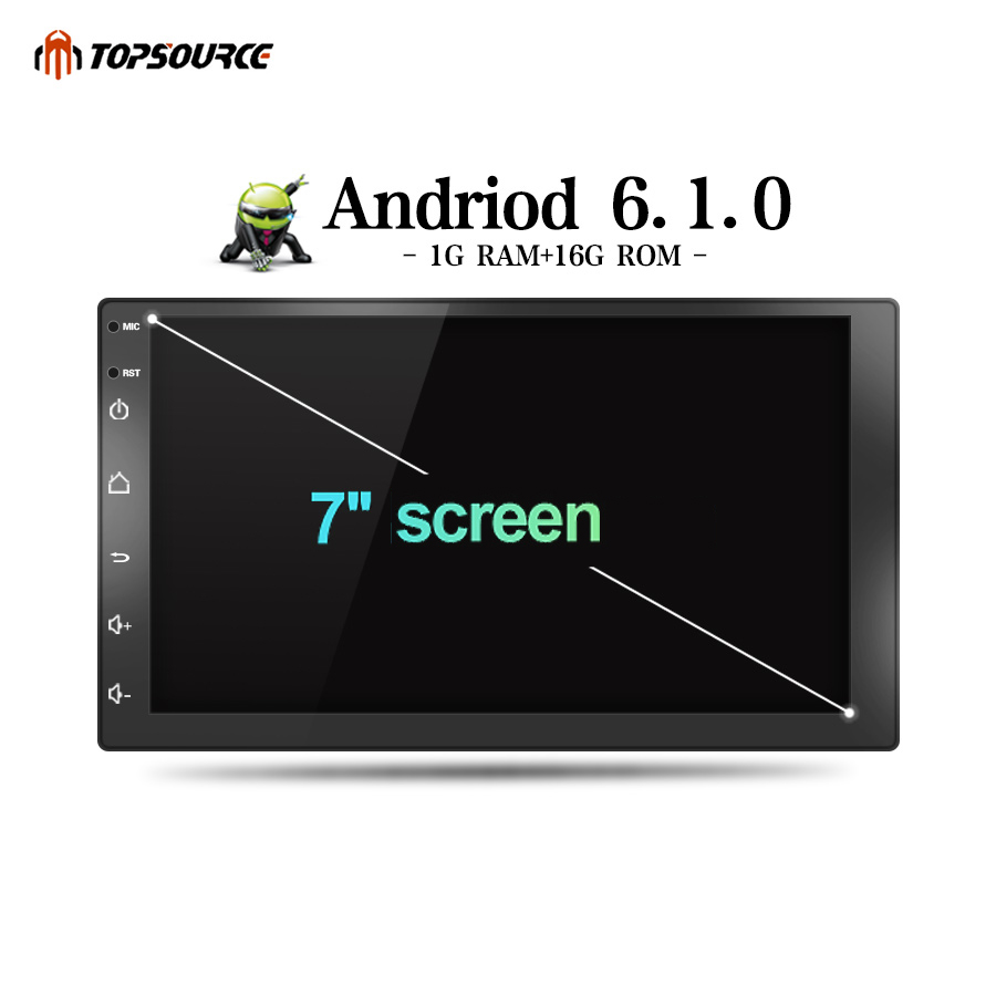 TOPSOURCE Car Multimedia Player Android 6.0 Car DVD Radio Player 2 din WiFi For Nissan TOYOTA Volkswagen Universal GPS 1024X600 car dvd gps android 8 0 player 2 din radio new universal gps navigation multimedia for nissan toyota volkswagen mazda byd kia vw