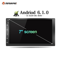 TOPSOURCE Car Multimedia Player Android 6.0 Car DVD Radio Player 2 din WiFi For Nissan TOYOTA Volkswagen Universal GPS 1024X600