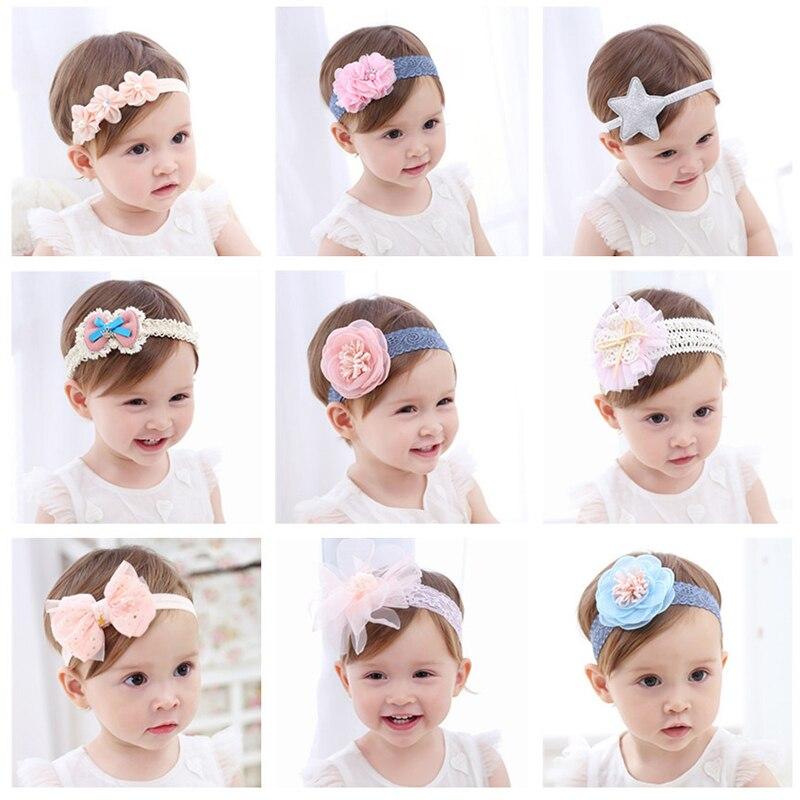 Fashion Newborn Toddler Headband Children's Cute Hair Accessories Baby Band Lace Pentagram Flowers Girl Elastic Bands Headwear