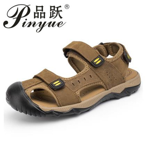 New 2018 Hot Fashion Summer Casual Solid Men Sandals Breathable High Quality Genuine Leather Beach Shoes Big Size 38~48