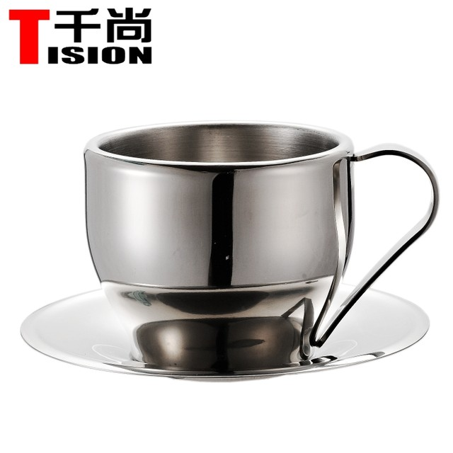 Tision 250ml Double Wall Stainless Steel Coffee Cupugs Espresso Cup Set Tea And Saucer