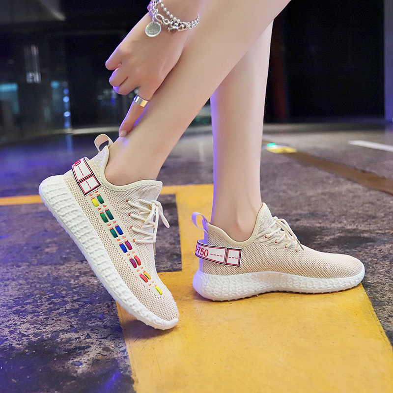 Flying Weaving Shoes Women Coconut Shoes sneaker Canvas Air breathable Run Shoes Fashion celebrity Thick bottom Casual 35