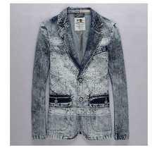 Plus Size XXXL 2015 New Men's Vintage Denim Coat Male Personalized Plus Size Fashion Slim Fit Jeans Blazers Suits Jackets H3598