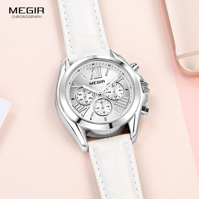 MEGIR Women's Chronograph Quartz Watches Leather Casual Wristwatch Lady Top Brand 24 Hours Relogios Femininos Clock 2114 White