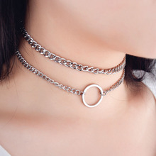2PCS/Set Hollow Round Choker Chain Necklaces For Women Clavicle Necklace Fashion personality Metal Chain Necklace Accessories round pendant chain necklace set 2pcs