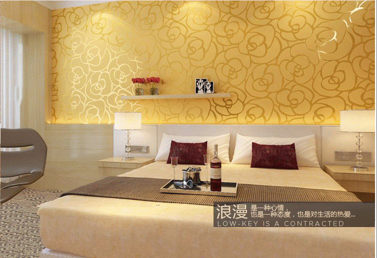 Classic flocking modern wallpaper wall paper bedroom room for Yellow living room wallpaper