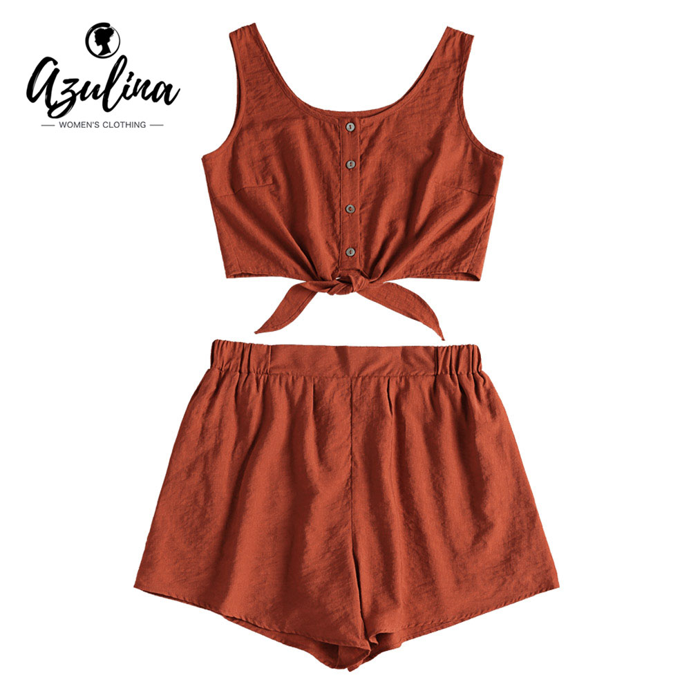 AZULINA Two piece Women Set Beach Summer Button Up Sleeveless Crop Top and Elastic Waist Shorts Set Casual Womens Suits 2018 ...