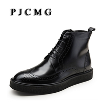 PJCMG New Winter Fashion High Quality Handmade Pointed Toe Lace Up Genuine Leather Oxfords Ankle Boots Business Mens Boots