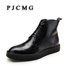 PJCMG New Winter Fashion High Quality Handmade Pointed Toe Lace-Up Genuine Leather Oxfords Ankle Boots Business Mens Boots(China)