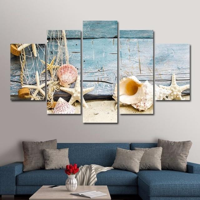 Attirant 5 Panels Unframed Shell Beach Seascape Wall Art Canvas Paintings For Living Office  Artwork Home Decor