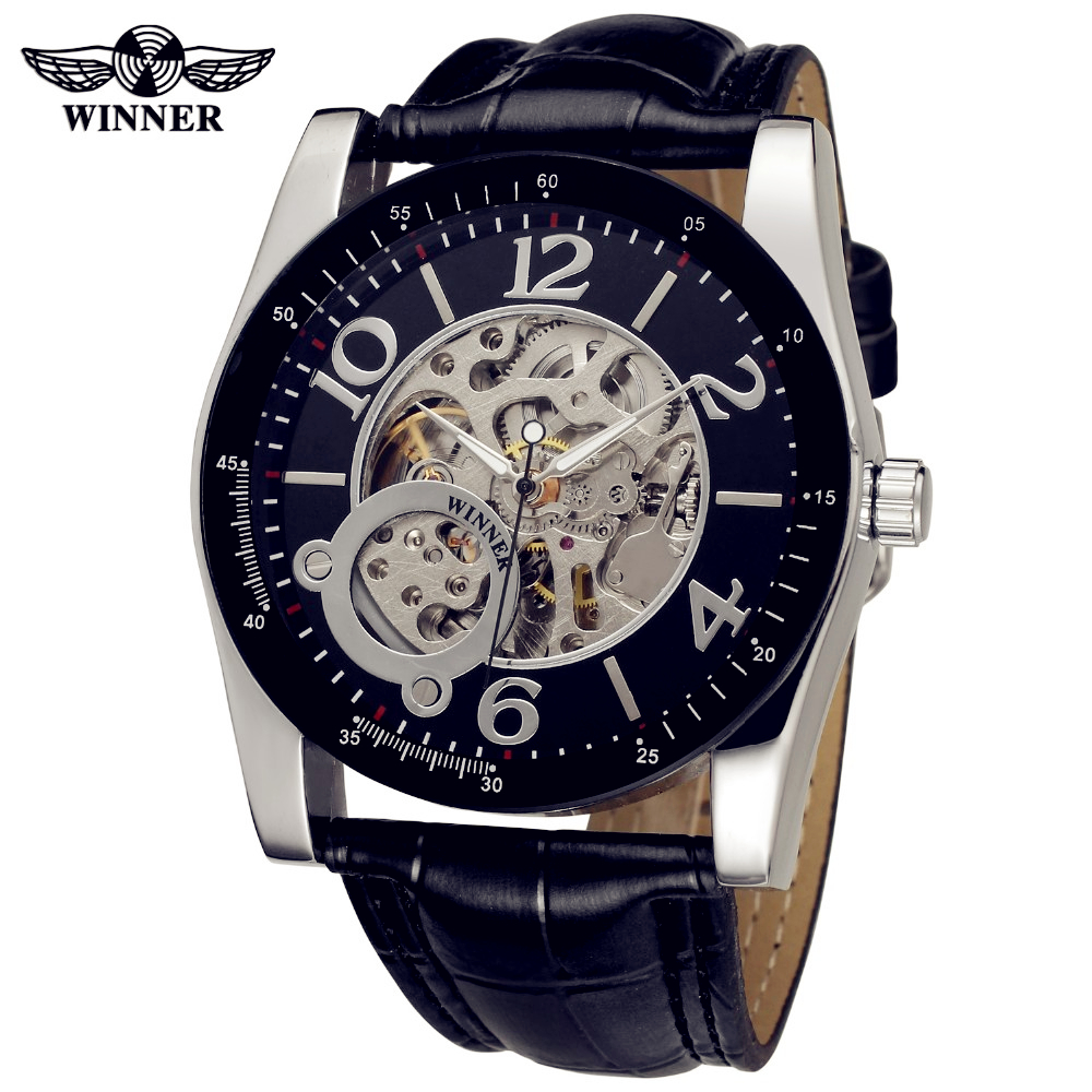 Fashion WINNER Men Luxury Brand Casual Skeleton Leather Band Watch Automatic Mechanical Wristwatch Gift Box Relogio Releges 2016 ik luxury fashion casual stainless steel men automatic mechanical watch skeleton watch for men s dress wristwatch free ship