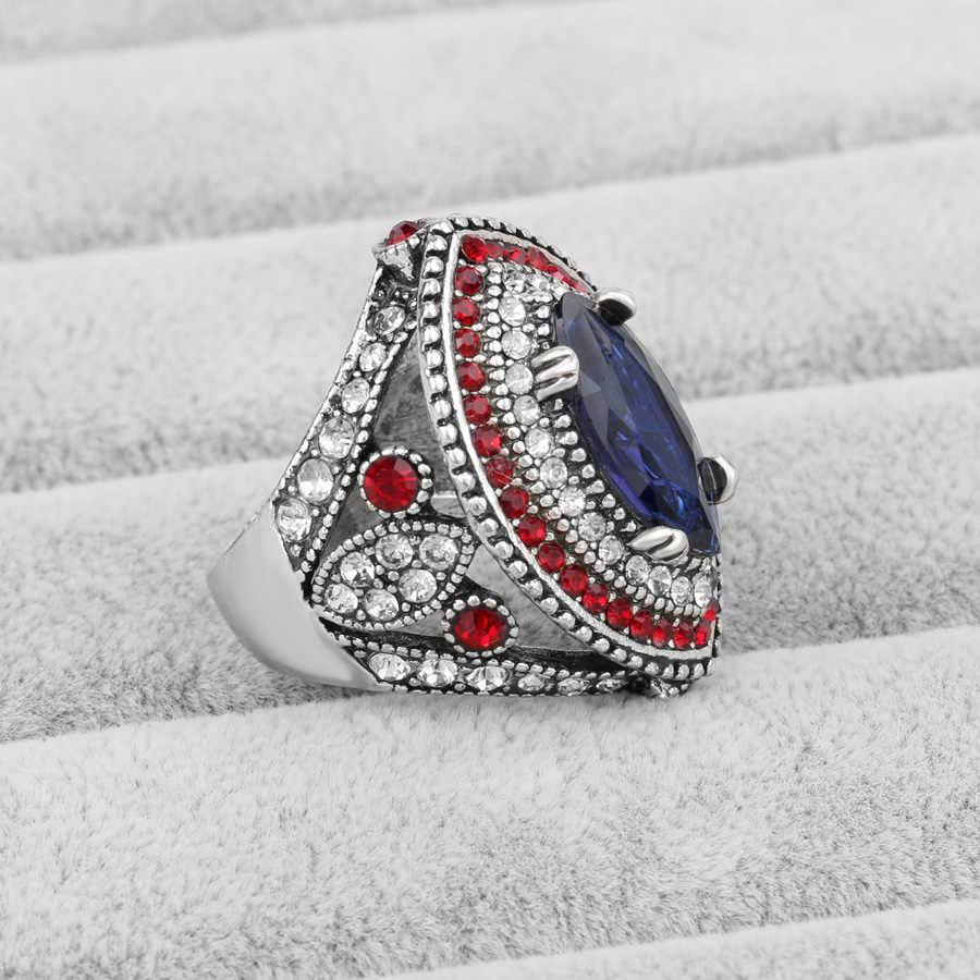 2018新着ファッションビッグ指シルバーリング高級クリスタルの結婚指輪ヴィンテージブルガリアジュエリー送料無料