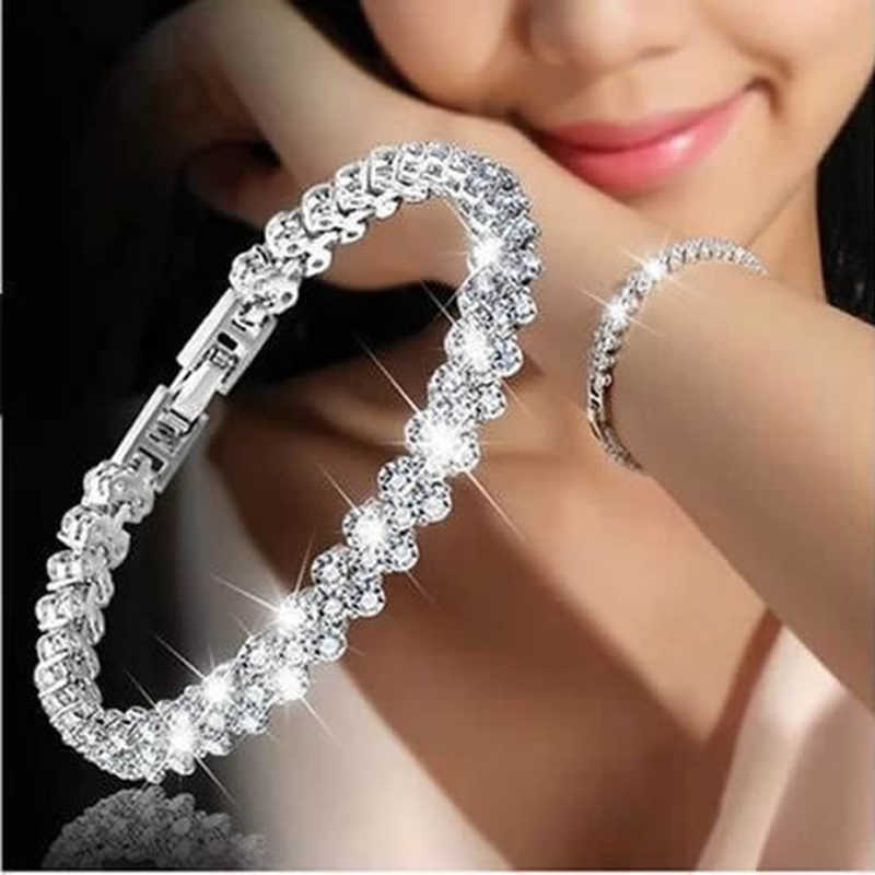 Women Silver Rose Gold Bracelet for Female Crystal Heart Charm Bracelet Women Bridal Wedding Fine Jewelry Gift