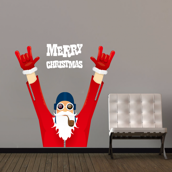 Merry Christmas Cool Santa Claus Art Illustration Wall Sticker ...