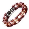 200mm Hot Sale Men Motorbike Chain Bracelet Orange Brown Motorcycle Link Bracelets Bangles Crystal Rhinestone Steel Jewelry