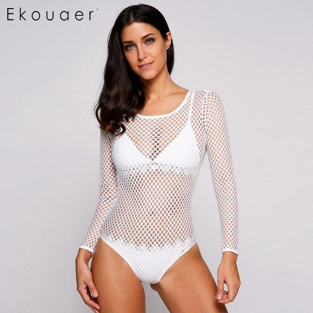 Ekouaer Summer Beach Cover Up Swimwear Bikini Cover up Solid Hollow Out Mesh Fishnet Back Cut Out  White Lace Women Beachwear 2