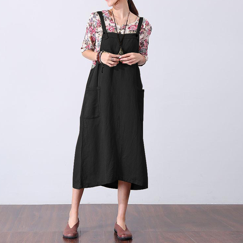 2018 ZANZEA Women Summer Sleeveless Pockets Casual Cotton Linen Party Strappy Dungarees  ...