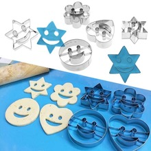 4Pcs Smiling Face Cookie Mold Stainless Steel Emoji Biscuit Cookie Cutter Cake Decorating Mold DIY Baking Moulds цены