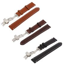 Leather Watch Strap Band Mens Stainless Steel Buckle 18 20 22mm Watchbands Hot
