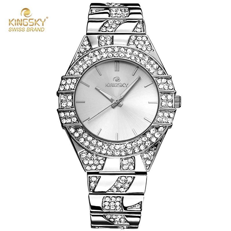 2017 Fashion Women Watches Kingsky Luxury Brand Ladies Watches Bling Crystal Quartz Wrist Watch Montre Femme Relogio Feminino kingsky luxury brand women wrist watches fashion casual quartz watch for lady steel strap relogio feminino 2016 montre femme