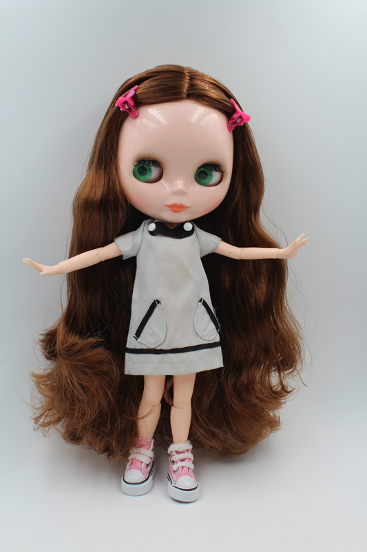 Free Shipping BJD joint RBL-202J DIY Nude Blyth doll birthday gift for girl 4 colour big eyes dolls with beautiful Hair cute toy купить