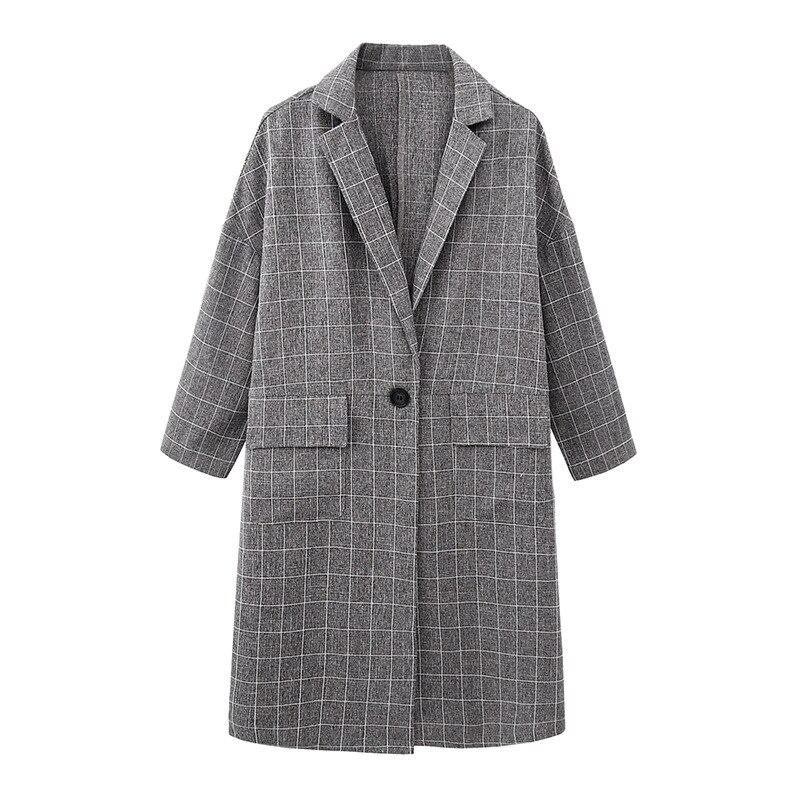 Women Plaid Long Coat Plus Size Batwing Long Sleeve Overcoat Loose Outwear Female Winter Autumn   Trench   Coats
