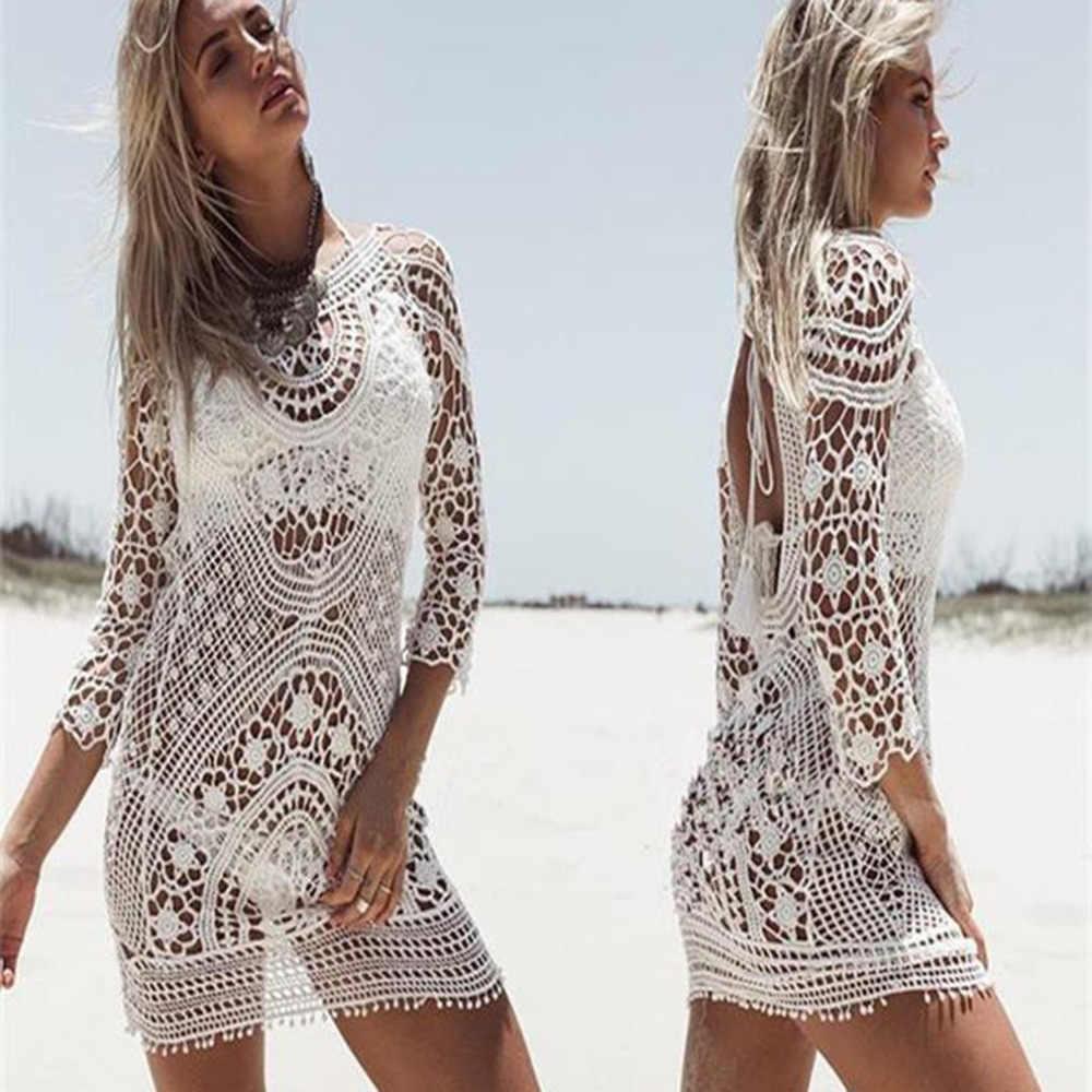 f76ae2e4c8 ... 2018 Sexy Ladies Women Lace Beach Wear Dress Crochet Bikini beach Cover Up  Swimwear Swimsuit saida ...
