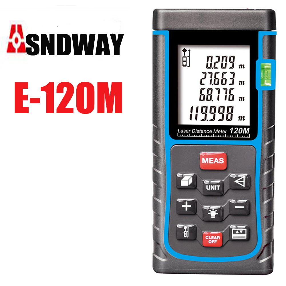 120m Rangefinder, Laser Distance Meter, Digital Range Finder Bubble Level measure Tape Area/Volume M/in/Ft Tester tools