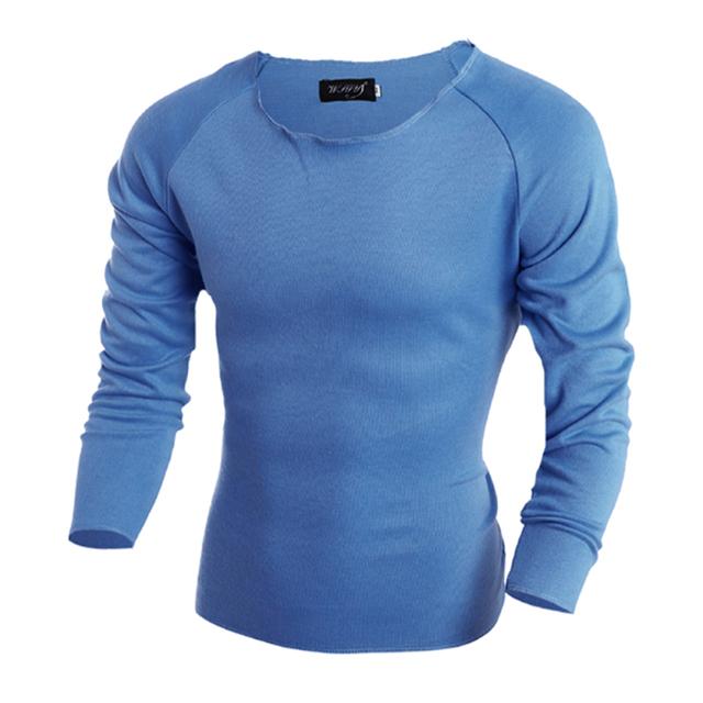 Blusas homens cor sólida breve bordado homens polo camisola magro o-pescoço de manga comprida camisola masculino quente venda