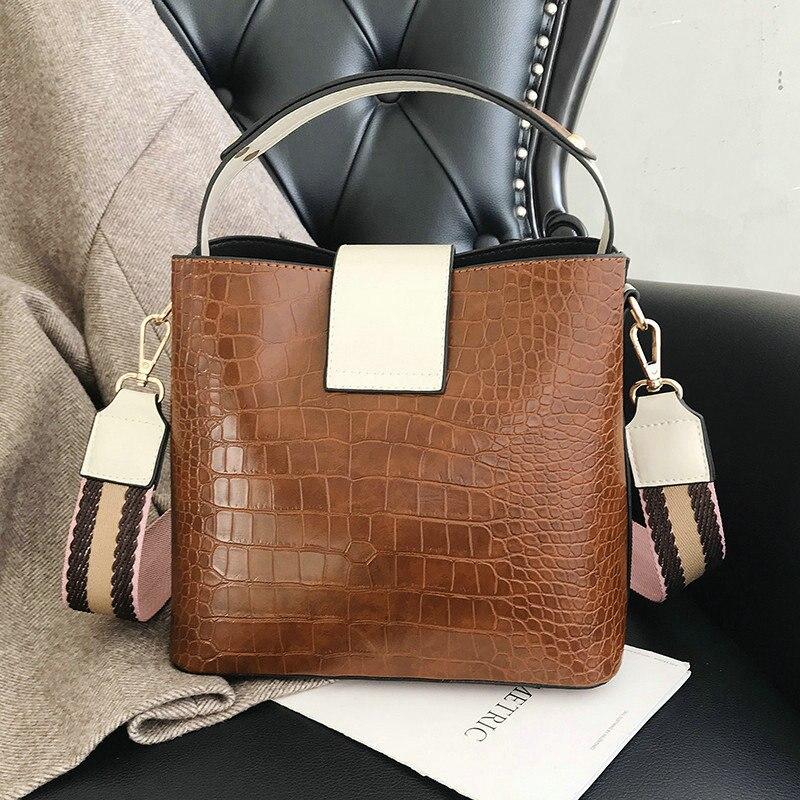 Alligator Bucket Shoulder Bags Women Small PU Leather Tote Handbag Girl Wide Strap Patchwork Crossbody Messenger Bag