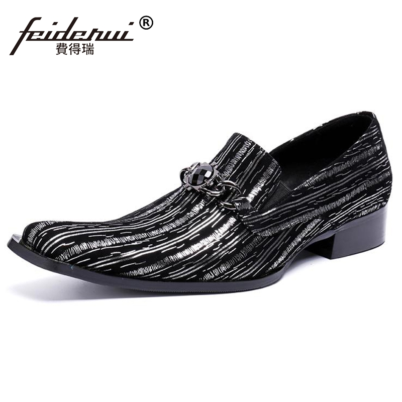 Plus Size Pointed Toe Slip on Man Wedding Banquet Loafers Genuine Leather Striped Comfortable Handmade Men's Casual Shoes SL434 недорго, оригинальная цена