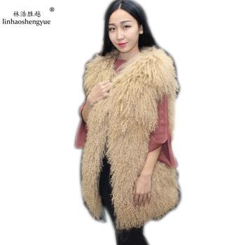 Linhaoshengyue long 75cm Beach wool fur vest