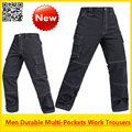 High quality Men's multi-pockets durable black work trousers work pant free shipping