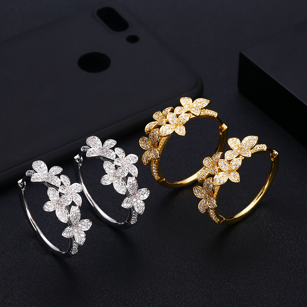 Janeklly Trendy Geometric Flower Hoop Earrings For Women Accessories Full Cubic Zirconia Earrings Jewelry Pendientes Mujer Moda