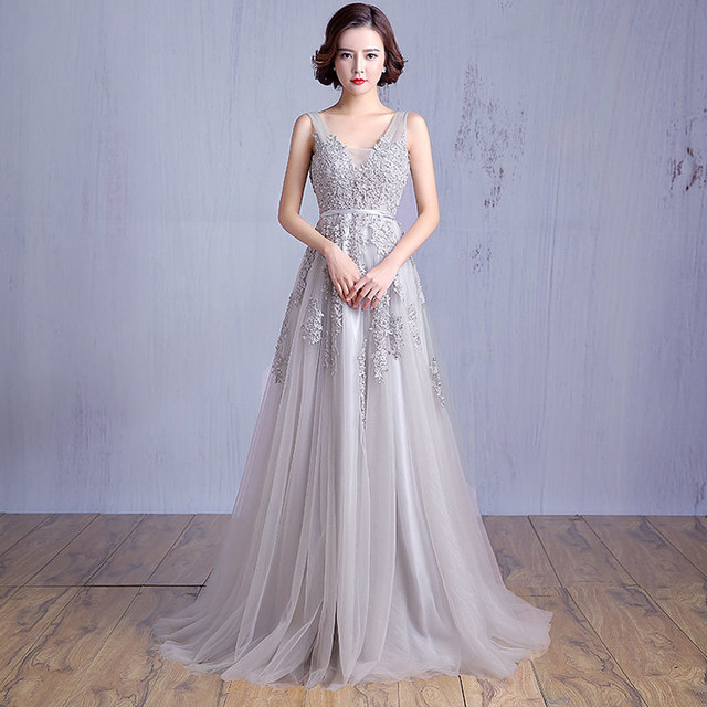 New Custom made Silver Applique Haute Couture Sequined Evening ...