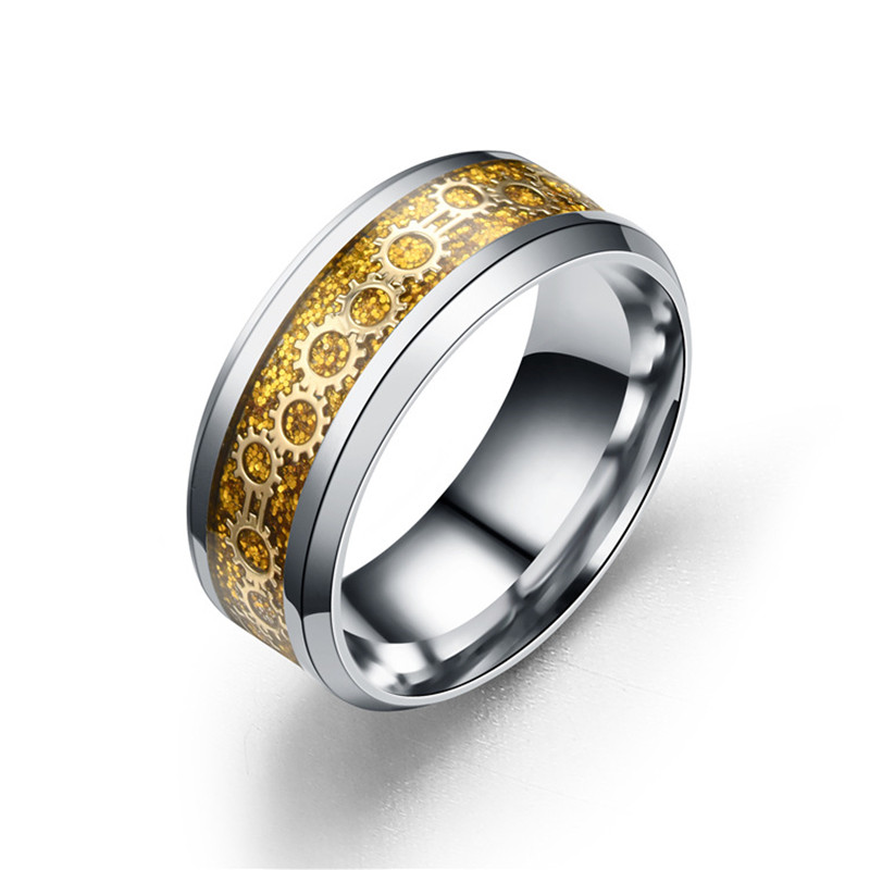 new fashion personality high-quality luxury ultra-flash enameled gear ring men and women ...