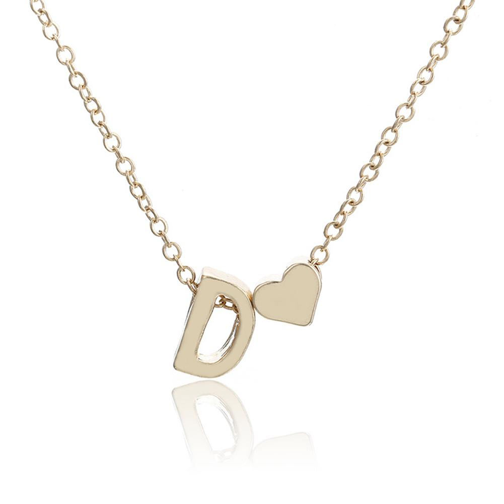 XIUFEN Women Fashion Simple Golden Letter Heart-shaped Necklace Initials Name Necklace Personalized Pendant Necklac
