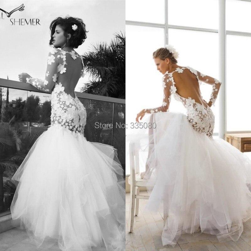 2016 Stunning Sheer Long Sleeves Wedding Dress Mermaid Full Length Flowered Open Back Tulle Skirt Bridal Gown In Dresses From Weddings Events On