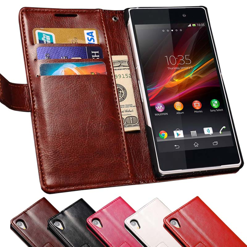 Z2 L50 Luxury Vintage Wallet Stand PU Leather Case for Sony Xperia Z2 L50 L50W C770x