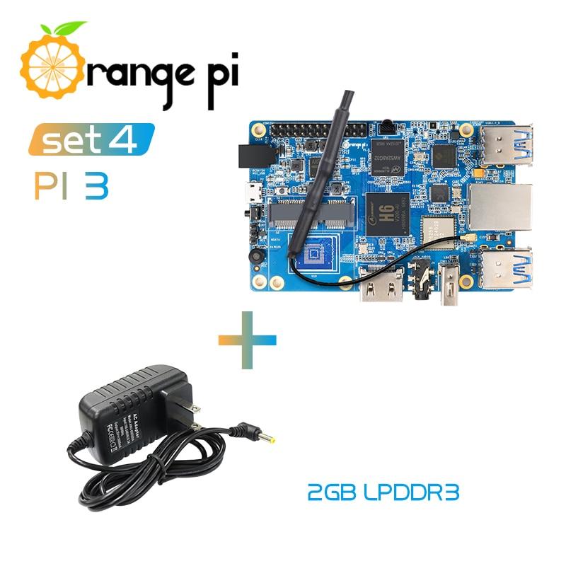 オレンジパイ 3 Set4: OPI 3 + 電源、 h6 2 ギガバイト LPDDR3 ギガバイト AP6256 BT5.0 4 * USB3.0 サポートアンドロイド 7.0 、 Ubuntu のは、 Debian  グループ上の パソコン & オフィス からの デモボード の中 1