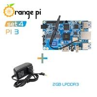 Orange Pi 3 Set4: OPI 3 + Power Supply, H6 2GB LPDDR3 Gigabyte AP6256 BT5.0 4*USB3.0 Support Android 7.0, Ubuntu, Debian