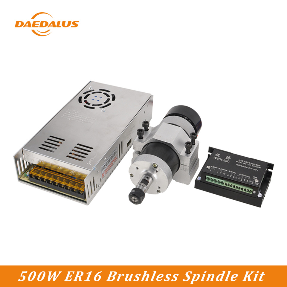 Daedalus CNC Engraving Spindle Motor Kit Brushless 500W Air Cooled Spindle Power Supply Driver 55MM Clamp For Wood RouterDaedalus CNC Engraving Spindle Motor Kit Brushless 500W Air Cooled Spindle Power Supply Driver 55MM Clamp For Wood Router