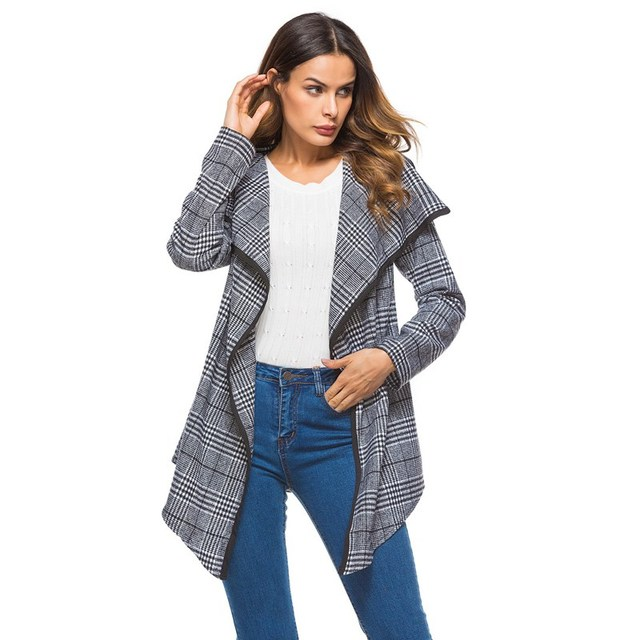 9e408df1a3d Women Asymmetric Blazers Coats 2018 Autumn Jacket Long Sleeve Tops Cardigan  Black Check&Plaid Waterfall Jacket Outwear Loose Top