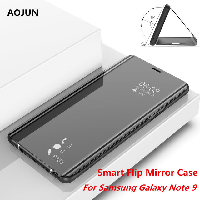 best sneakers 4e84d 670d6 US $7.18 9% OFF|Aojun For Samsung Galaxy Note 9 Smart Mirror Case Leather  Flip Stand Protection Cover Clear View Mirror For Galaxy Note 9 Case-in  Flip ...
