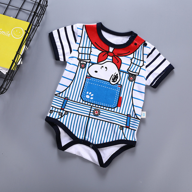 bdb8935569791 US $9.68 29% OFF|Newborn Baby Rompers Cartoon Snoopy Mickey Minnie Boy Girl  Clothes Cotton Baby Jumpsuits Summer Short Sleeve Toddler Outfits-in ...