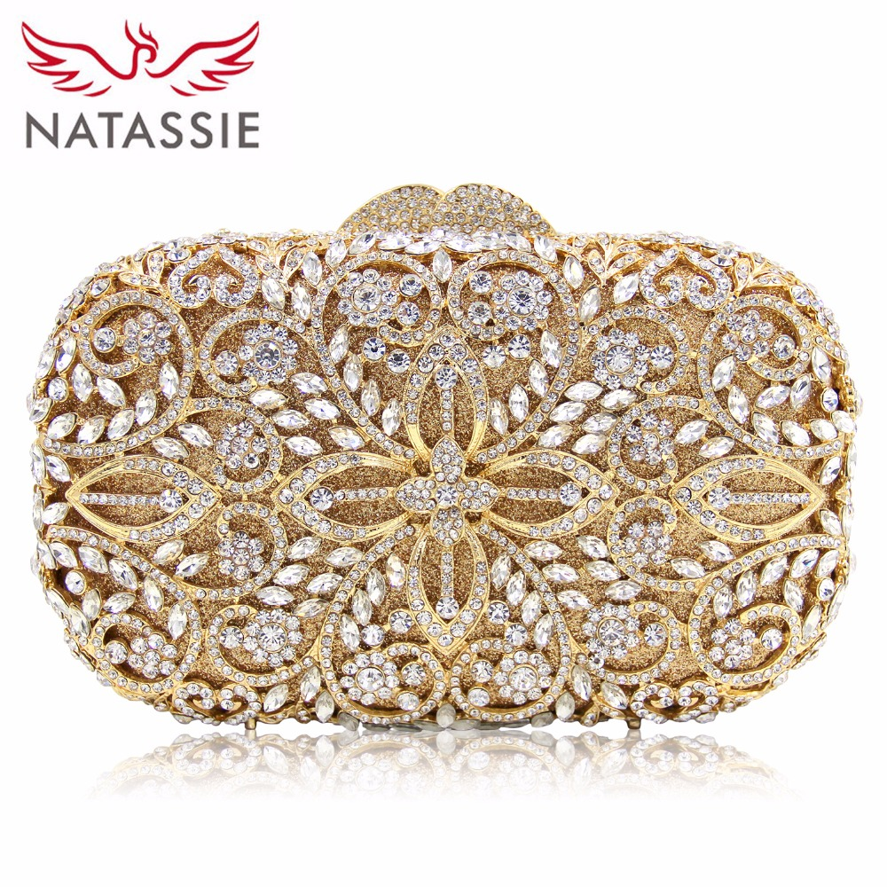 NATASSIE Women Evening Bags Ladies Party Clutch Bag Female Gold Crystal Wedding Purses natassie women evening bags ladies crystal wedding clutch bag female party clutches purses